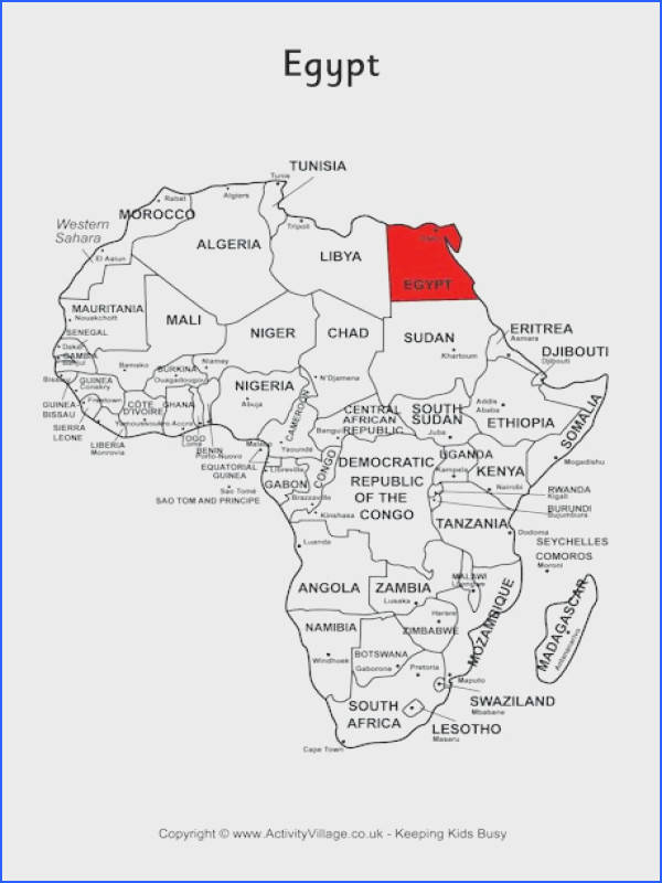 Egypt on map of Africa