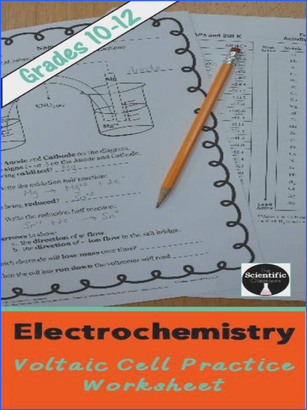 Electrochemistry Voltaic Cell Practice Worksheet