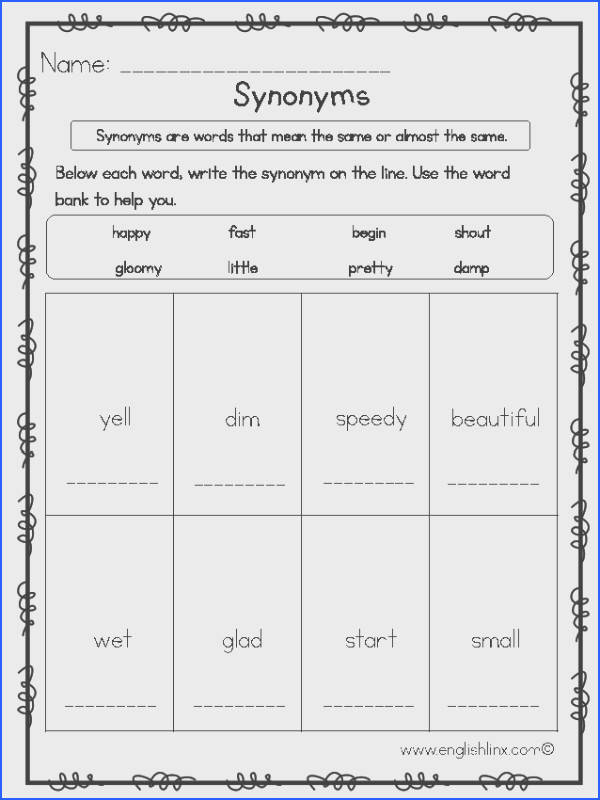 Elementary Synonyms Worksheets
