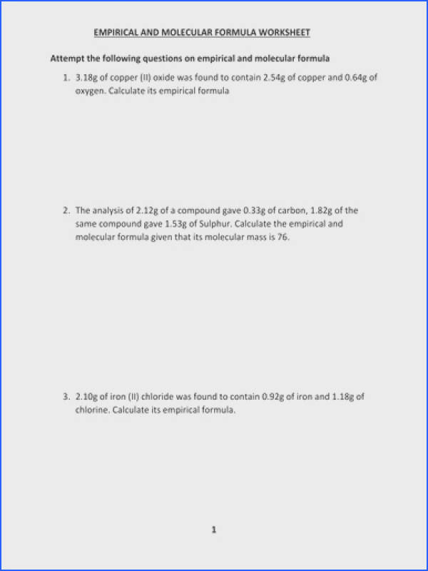EMPIRICAL AND MOLECULAR FORMULA WORKSHEET WITH ANSWERS by