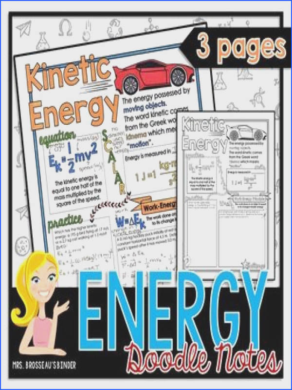 Energy Doodle Notes 3 pages of doodle notes with practice problems covering Kinetic Energy