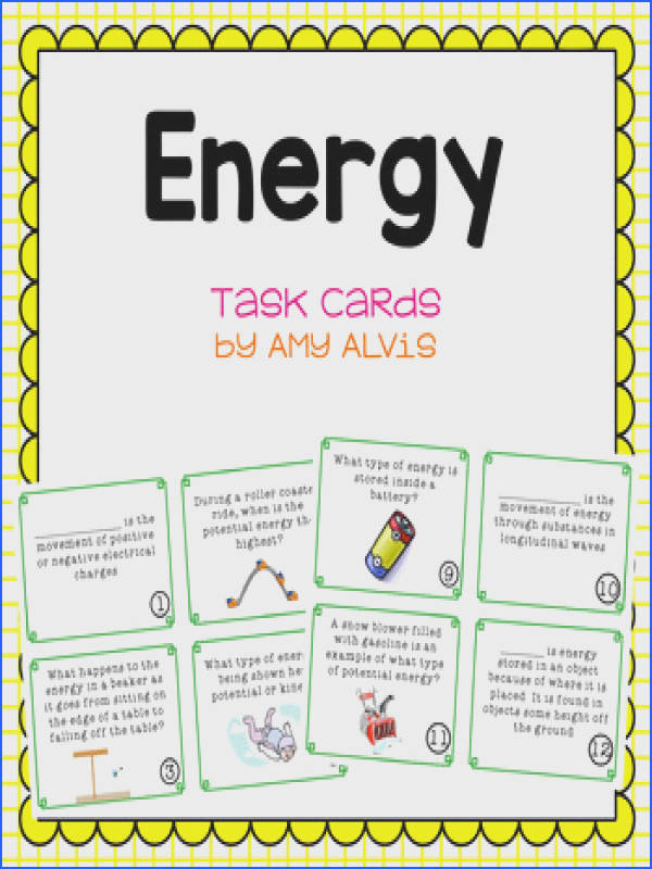 Energy Task Cards SCOOT Potential Kinetic Transformations