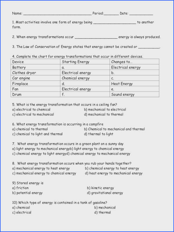 Energy Worksheets Middle School Worksheets for all Download and Worksheets