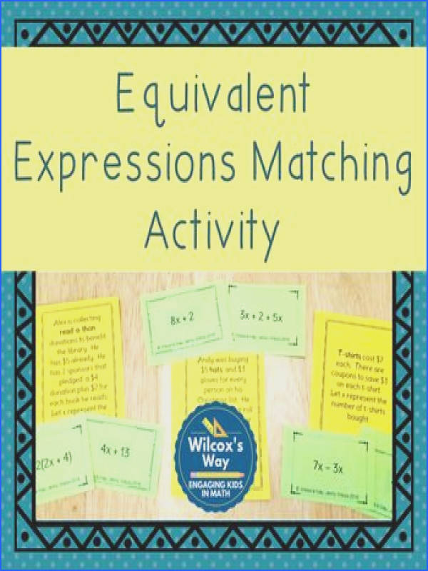 Equivalent Expressions Matching Activity · Equivalent ExpressionsExit TicketsEquationDistributive PropertyWorksheetsSystems