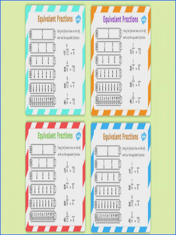 Equivalent Fractions Challenge Cards