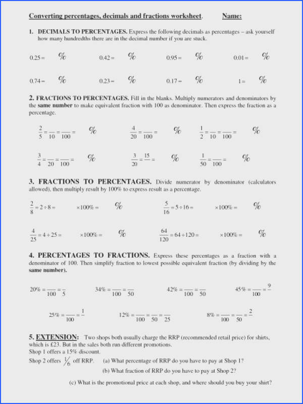 Best ns To Percentages Worksheet Converting Decimals Worksheets L Equivalent And Year Percents Fractions Ks2