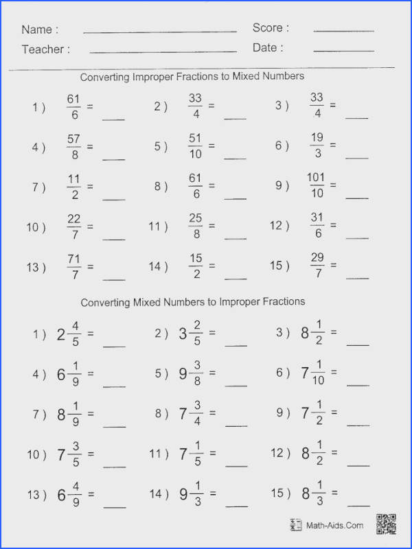 Math Worksheets Dividing Fractions Worksheet 6thade Fraction Improper Mixed To Pdf Numbers 5th Grade 5 With
