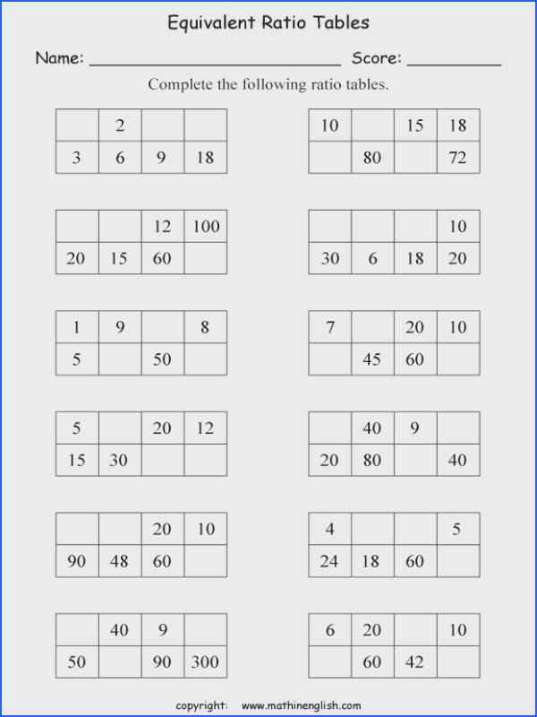plete the tables by creating equivalent ratios Challenging math class 5 ratio and proportion worksheet