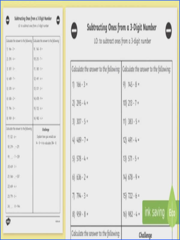 Subtracting es from a 3 Digit Number Worksheet Year 3 maths