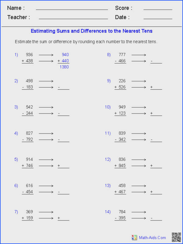 Estimating Three Digit Subtraction Worksheets for all Download and Worksheets