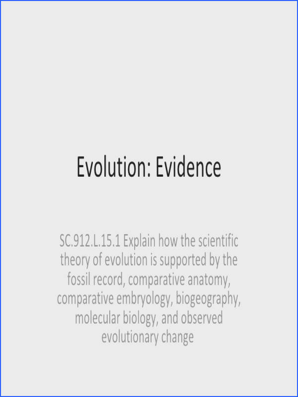Evolution Evidence SC 912 L 15 1 Explain how the scientific theory of
