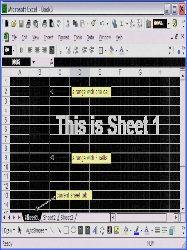 The workbook Excel file is currently Book3 xls The current worksheet is Sheet1 as the Sheet Tab indicated Two ranges are selected range B2 and B7 B11
