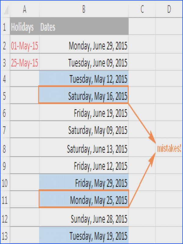 Using the WORKDAY function in Excel conditional formatting
