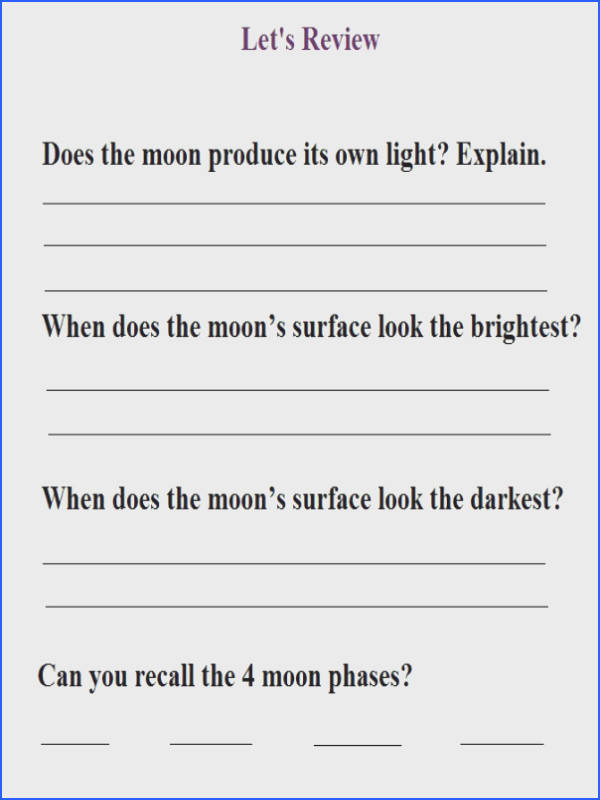 Exit ticket I created for my 4th graders during a lesson on Moon Phases
