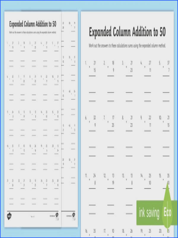 Expanded Column Addition to 50 Worksheet Activity Sheets formal method add sum