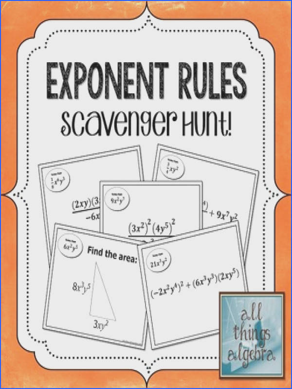 The objective of this scavenger hunt activity is to practice simplifying expressions using the following properties of exponents product rule power