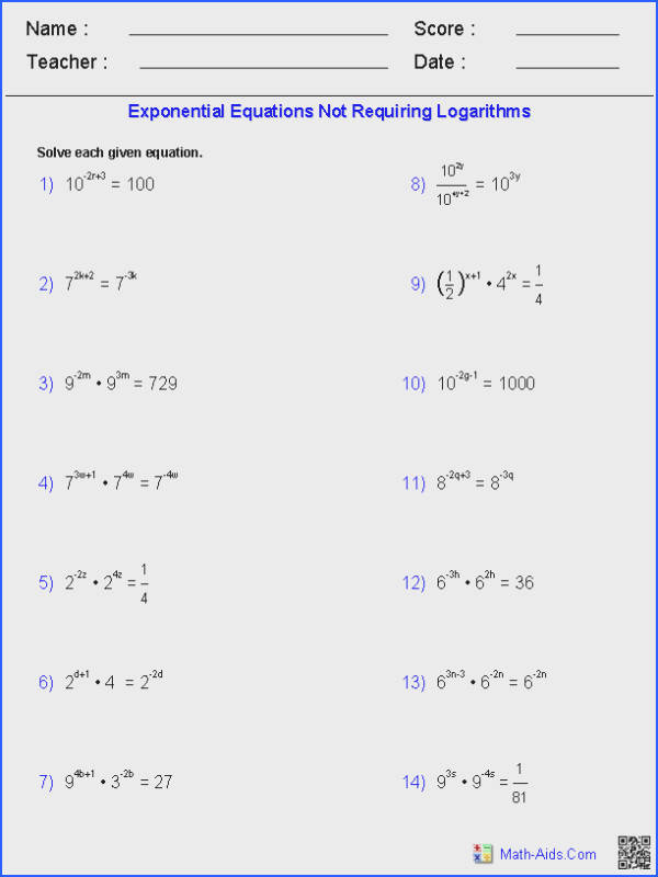 Exponential Equations Not Requiring Logarithms Worksheets