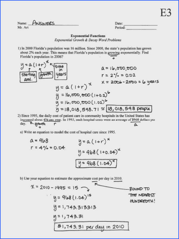 Exponential Functions Growth & Decay Worksheet E3 Answers