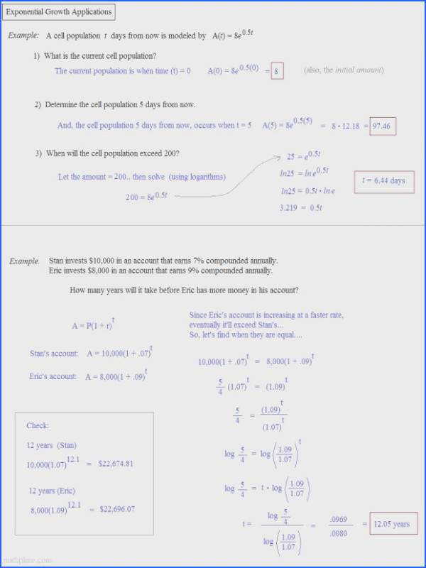 Exponential Growth And Decay Problems Word Worksheet Answers