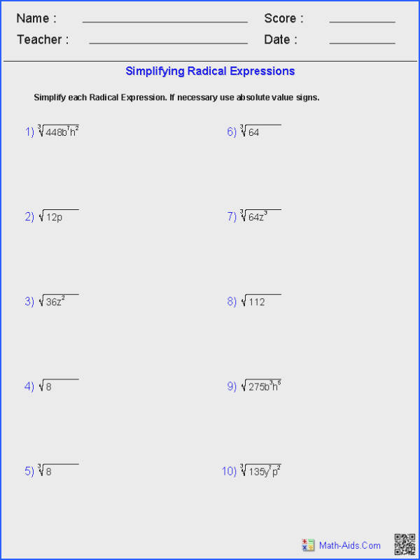 Exponents and Radicals Worksheets Image Below Simplifying Radical Expressions Worksheet