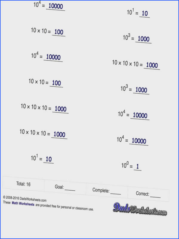 Exponents Worksheets Powers of Ten and Scientific Notation cube Pinterest