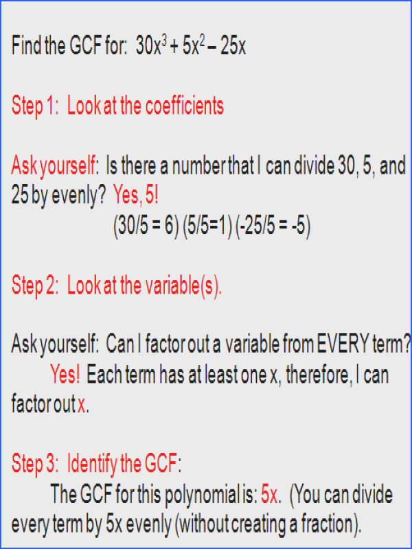 factoring polynomials using the GCF