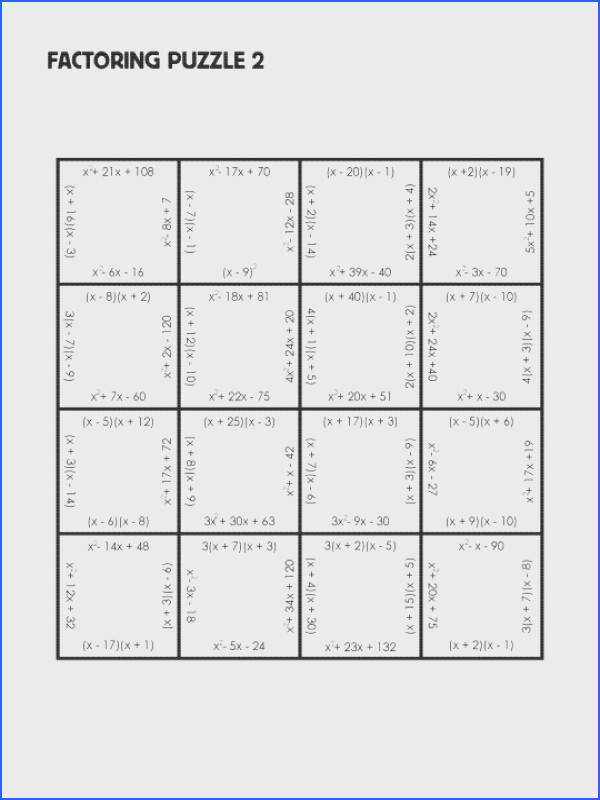 factorpuzzlechallenge2 math worksheets factoring polynomials worksheet answers free library go solving quadratic by grouping expressions 540