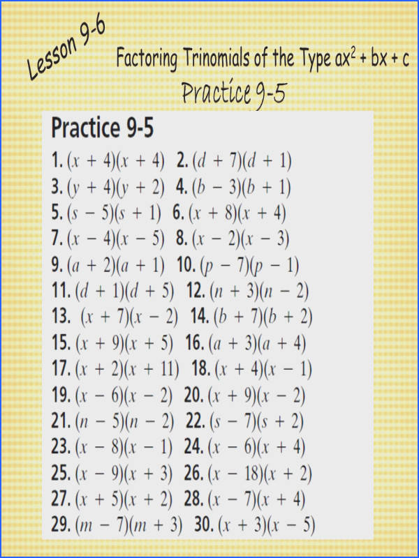 factoring trinomials of the type ax2 bx c