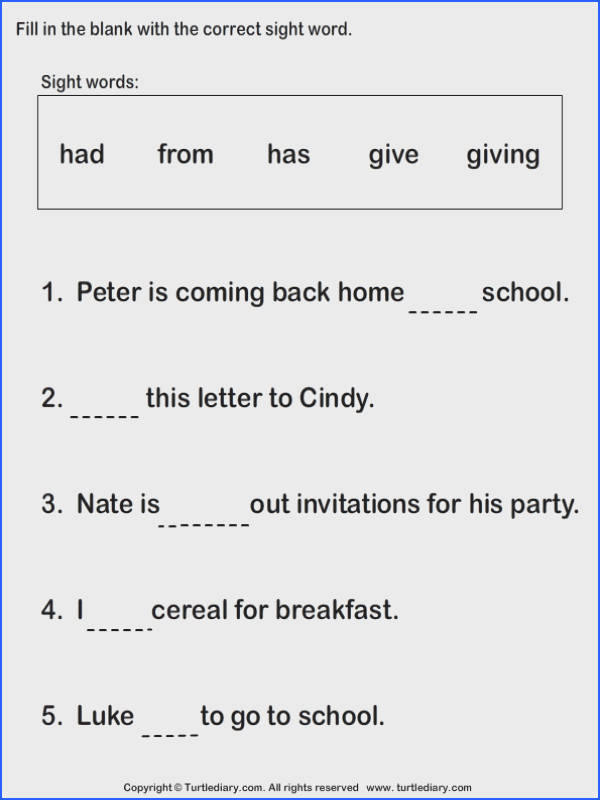 Fill In The Blank Worksheets 1St Grade Worksheets for all Download and Worksheets
