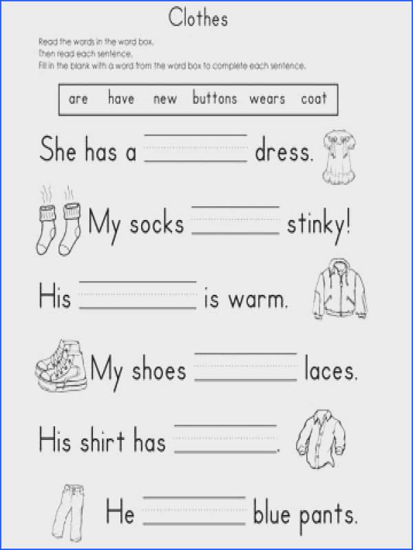 Clothes Fill in the Blank Reading Worksheet