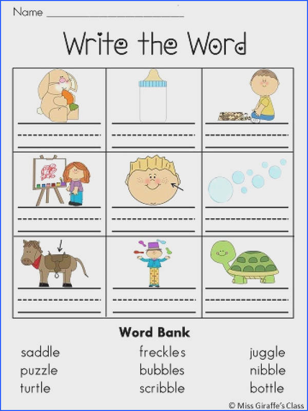 Final Stable Syllables LE Sound Worksheets and Centers