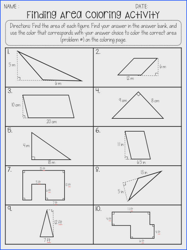 The Meaningful Middle Area of parallelograms and triangles Polygons