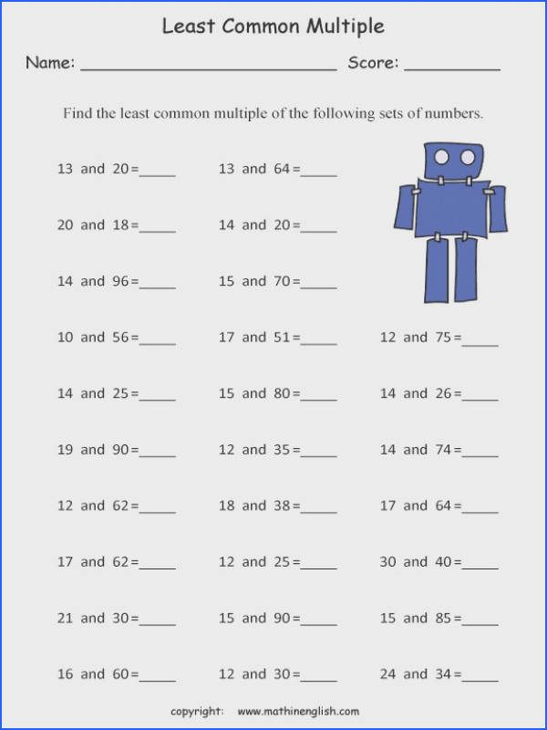 Find the least mon multiple of 2 numbers up to 100 math LCM
