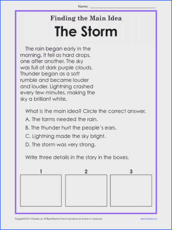 Finding the Main Idea The Storm Worksheet for 1st 2nd Grade