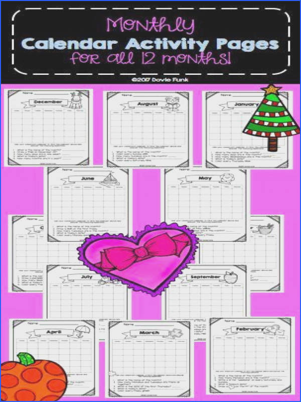 First Grade Calendar Math Worksheets for every month of the year