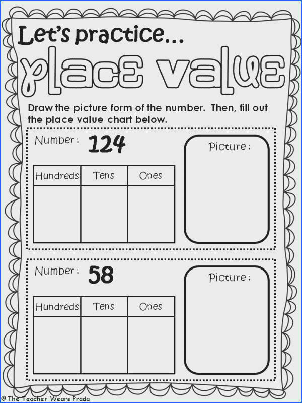 Extraordinary First Grade Math Place Value Worksheet In Place Value Worksheet 2nd Grade Switchconf of