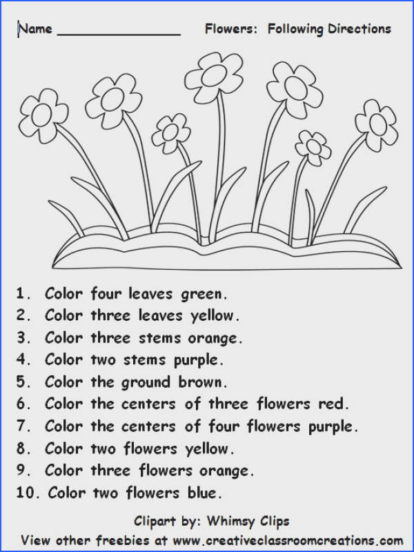 Following directions is fun as students practice number and color words Other freebies and plete spring units available at …