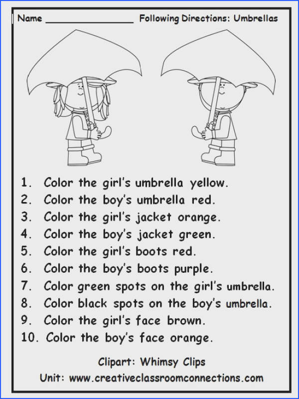 Following Directions is Fun as Students Practice Number and Color Image Below Following Directions Worksheet