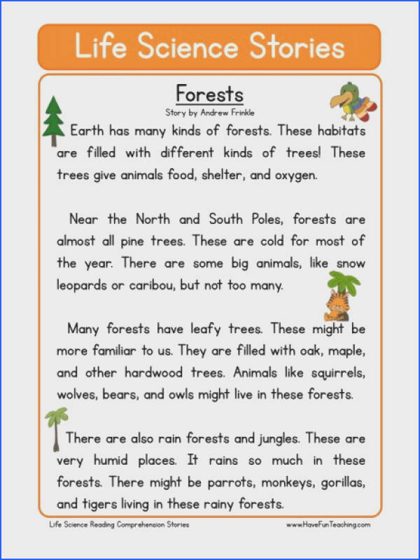 This Reading prehension Worksheet Forests is for teaching reading prehension Use this reading prehension story to teach reading prehension