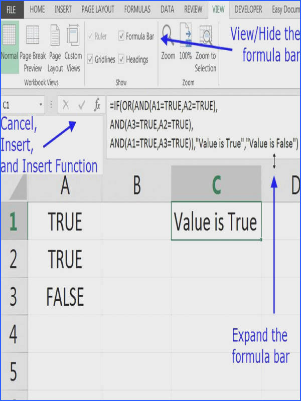 the Formula or fx Bar in Excel and Google Spreadsheets