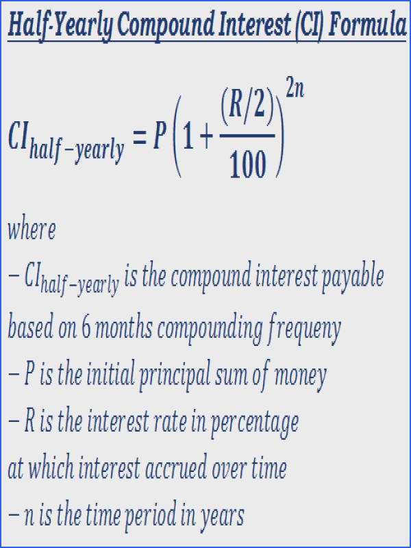 Formula to calculate interest payable on half yearly pound Interest CI