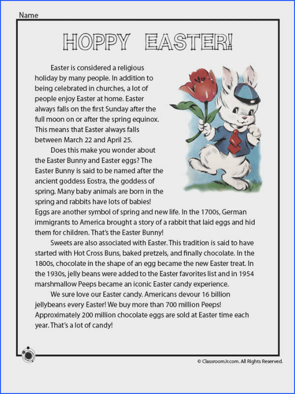 Four New Easter Worksheets to Print Easter History Reading e Page – Classroom Jr