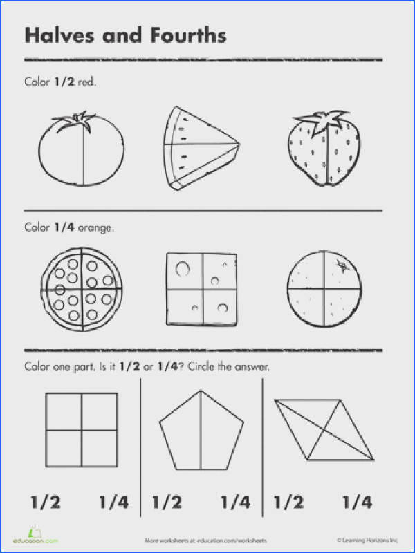 Fraction Worksheets for 1st Grade Awesome Halves and Fourths Worksheets First Grade Halves Best Free s