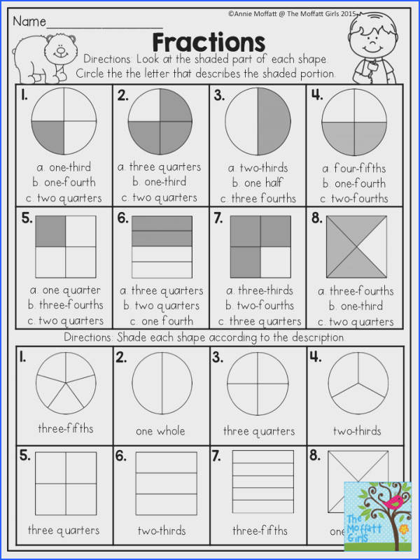 Fractions Look at the shaded part of each shape and circle the correct answer Fun Math ActivitiesMaths Worksheets For KidsMath Fractions Worksheets2nd