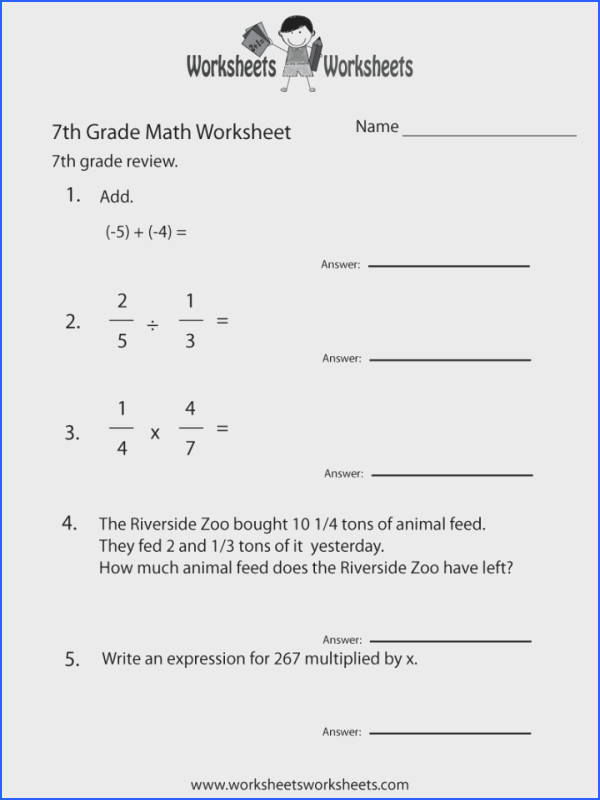7th Grade Mathractions Worksheetsree Probability line plex Adding And Subtracting Math Fractions Worksheets Free Integers 720