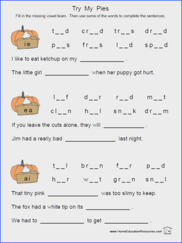 FREE and easy to from FransFreebies Long Vowel binations worksheets