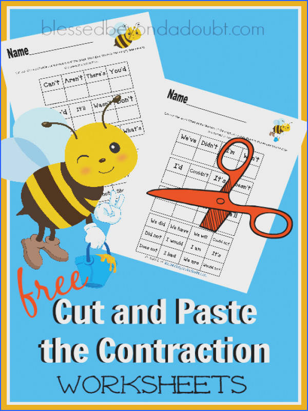 FREE Cut and Paste the Contraction Worksheets