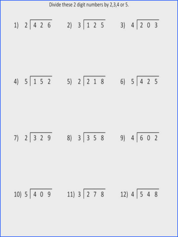 free division worksheets for 4th class grade math 3 digits by 1 di a part of