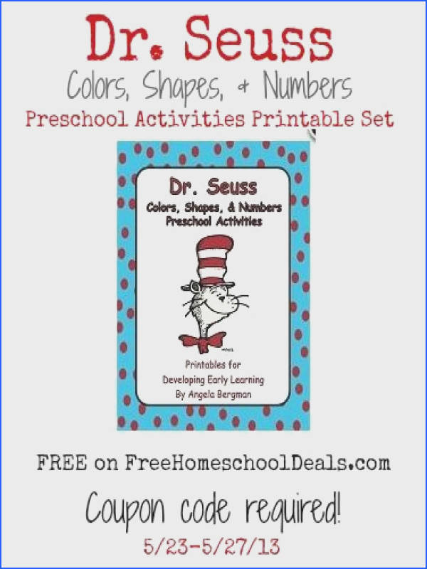 FREE Dr Seuss Colors Shapes & Numbers Preschool Activities Printable Set coupon
