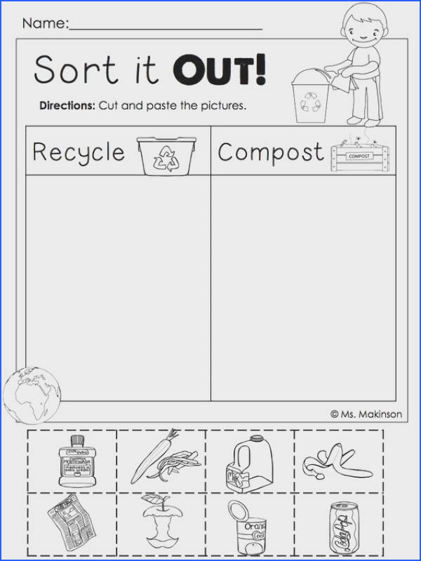 Earth Day Printables Recycling and post cut and paste